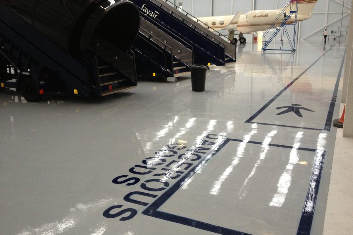 Safe Walkway route, Fayair Hanger, Stansted Airport
